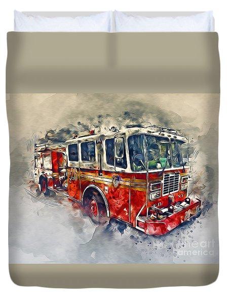 American Fire Truck Duvet Cover