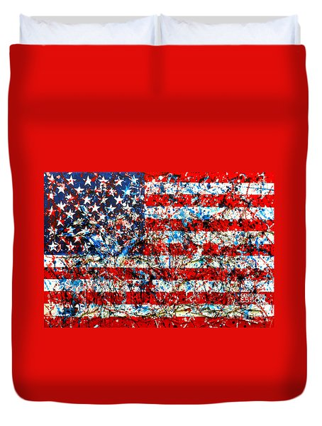 Duvet Cover featuring the painting American Flag Abstract With Trees by Genevieve Esson