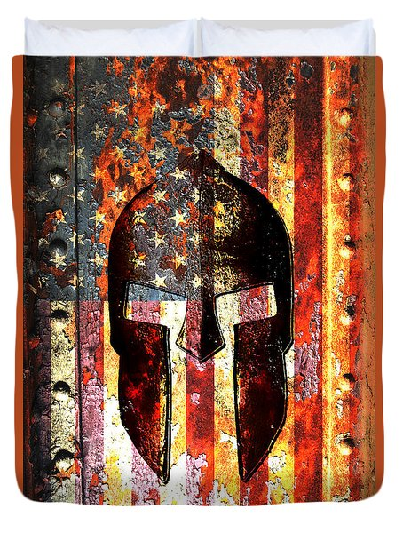 American Flag And Spartan Helmet On Rusted Metal Door - Molon Labe Duvet Cover