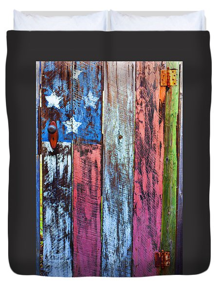 American Flag Gate Duvet Cover by Garry Gay