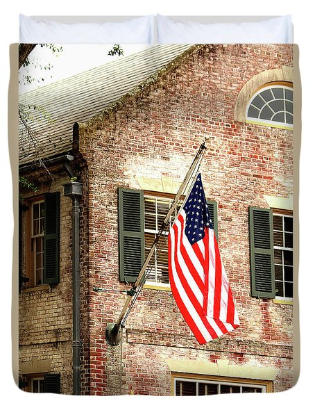 American Flag In Colonial Williamsburg Duvet Cover
