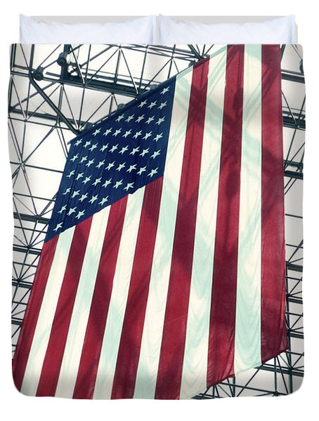American Flag In Kennedy Library Atrium - 1982 Duvet Cover by Thomas Marchessault