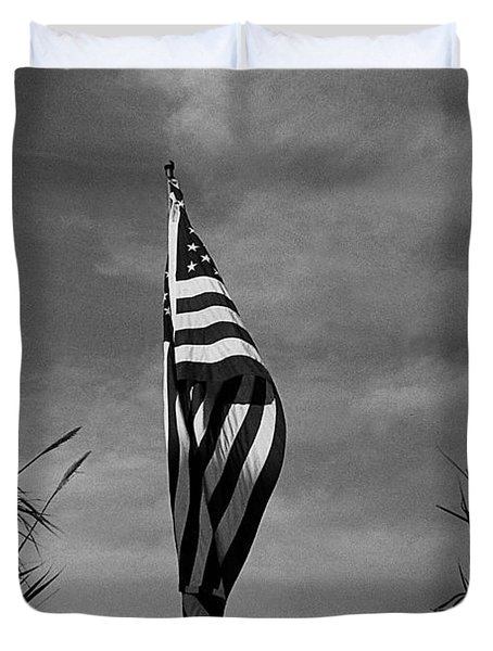 American Flag In My Front Yard Amongst Bamboo Tucson Arizona 1990 Duvet Cover