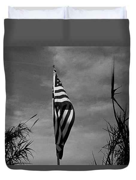 American Flag In My Front Yard Amongst Bamboo Tucson Arizona 1990 Duvet Cover