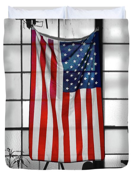 Duvet Cover featuring the photograph American Flag In The Window by Mike McGlothlen