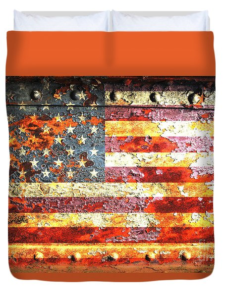 American Flag On Rusted Riveted Metal Door Duvet Cover