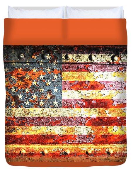 American Flag On Rusted Riveted Metal Door Duvet Cover