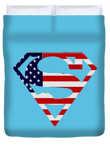 American Flag Superman Shield Duvet Cover