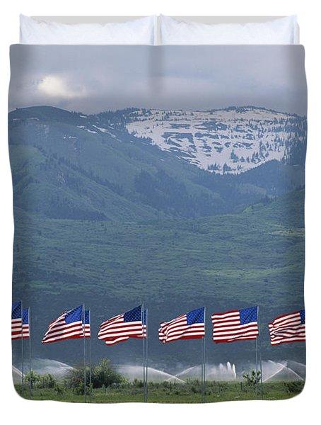 American Flags Honoring Veterans Duvet Cover by James P. Blair