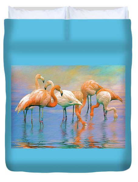 American Flamingos Duvet Cover by Brian Tarr