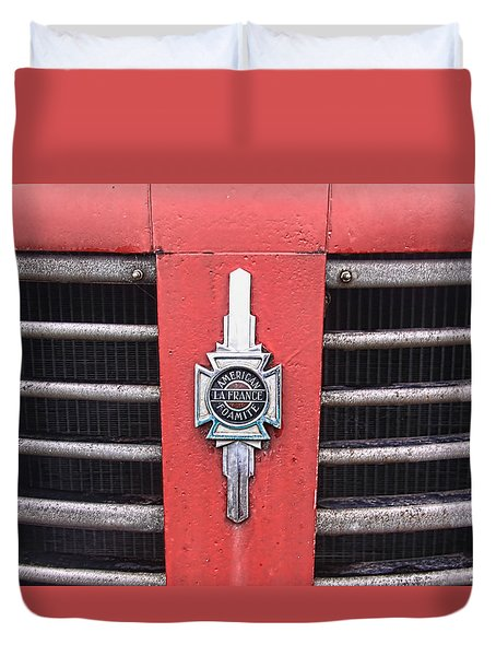 American Foamite Firetruck Emblem Duvet Cover by Susan Crossman Buscho