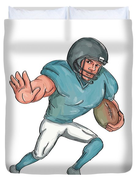 American Football Player Stiff Arm  Caricature Duvet Cover