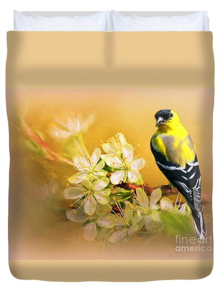 American Goldfinch In The Flowers Duvet Cover by Myrna Bradshaw