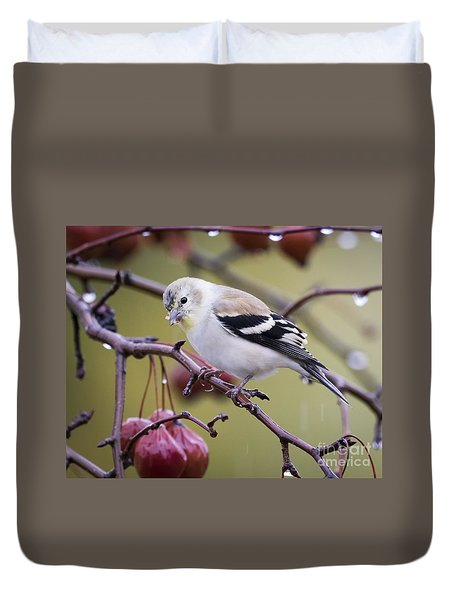 American Goldfinch In The Rain Duvet Cover