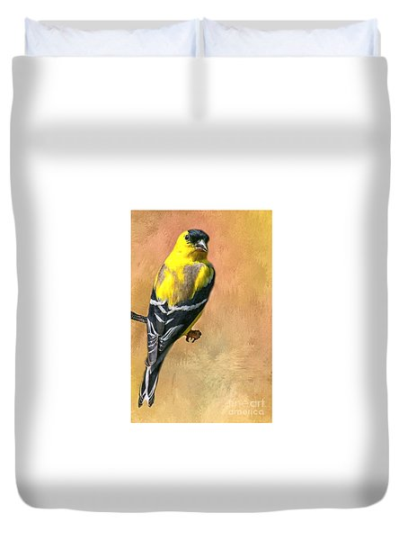 American Goldfinch Duvet Cover by Myrna Bradshaw