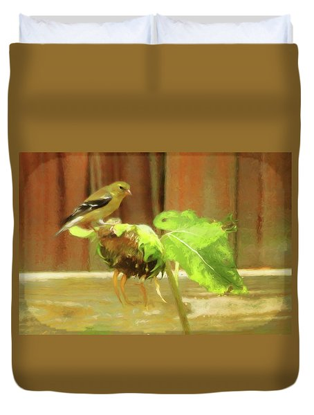 American Goldfinch On Withering Sunflower Duvet Cover