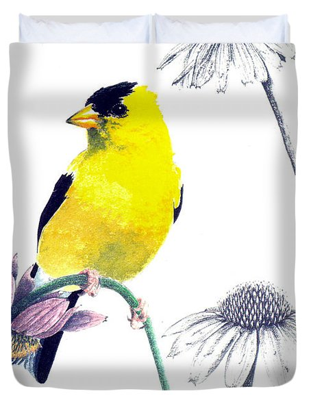 American Goldfinch On Coneflowers Duvet Cover