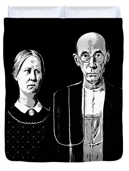 American Gothic Graphic Grant Wood Black White Tee Duvet Cover