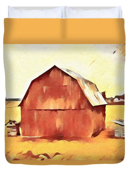 Duvet Cover featuring the painting American Gothic Red Barn by Dan Sproul