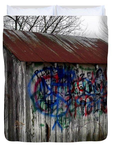 American Graffiti 4   Zig Zag Man Duvet Cover by Ed Smith