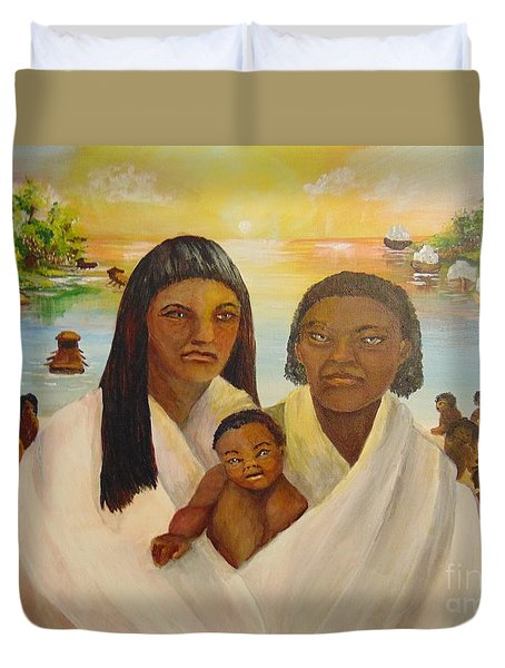 Duvet Cover featuring the painting American Holocaust Survivors by Saundra Johnson