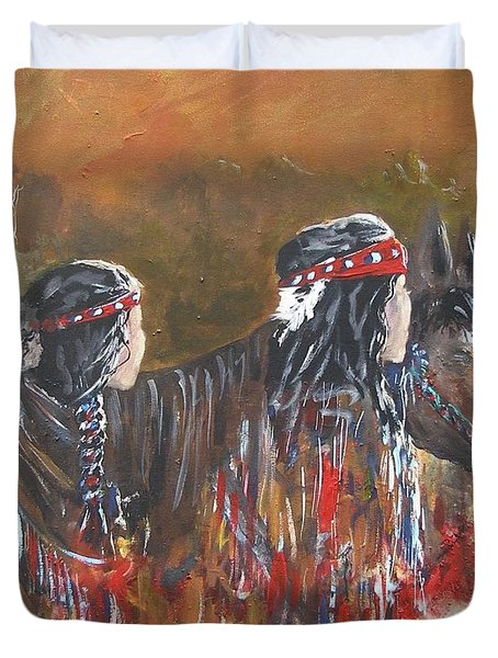 American Indians Family Duvet Cover