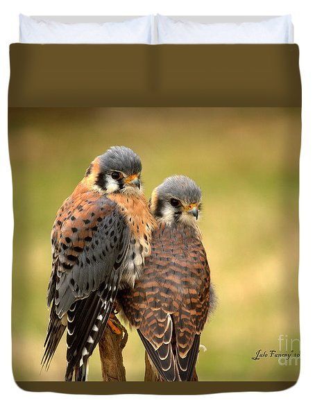 American Kestrel Siblings Duvet Cover