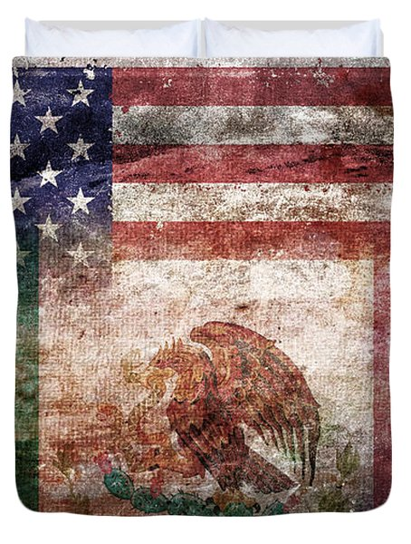American Mexican Tattered Flag  Duvet Cover