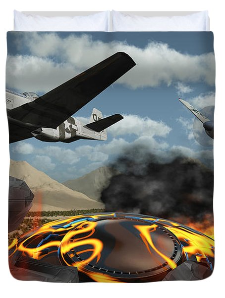 American P-51 Mustang Fighter Planes Duvet Cover by Mark Stevenson