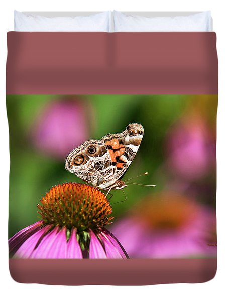 Duvet Cover featuring the photograph American Painted Lady Butterfly by Christina Rollo