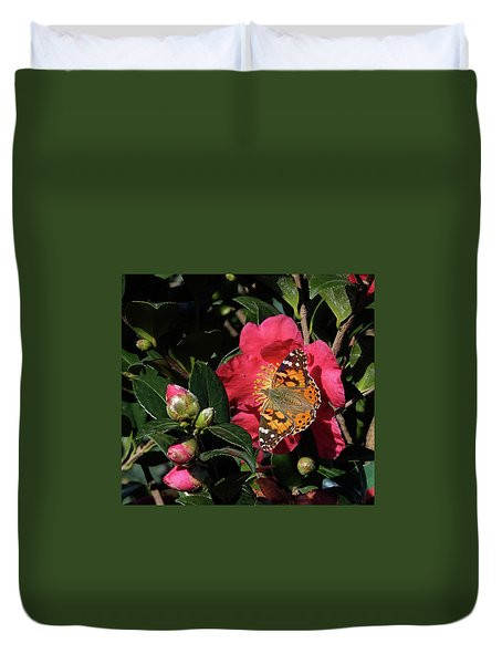 American Painted Lady On Camelia Duvet Cover