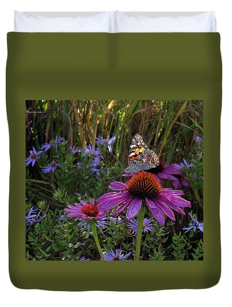 American Painted Lady On Cone Flower Duvet Cover