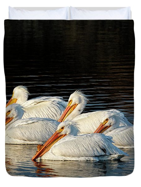 Duvet Cover featuring the photograph American Pelicans - 03 by Rob Graham