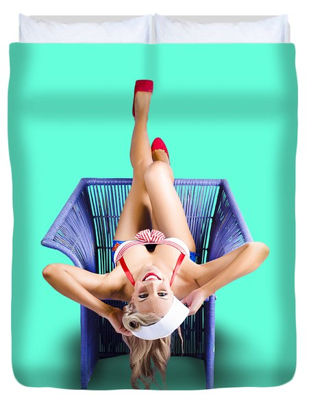 American Pinup Woman Upside Down On Cane Chair Duvet Cover
