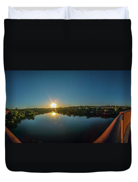 American River At Sunrise - Panorama Duvet Cover