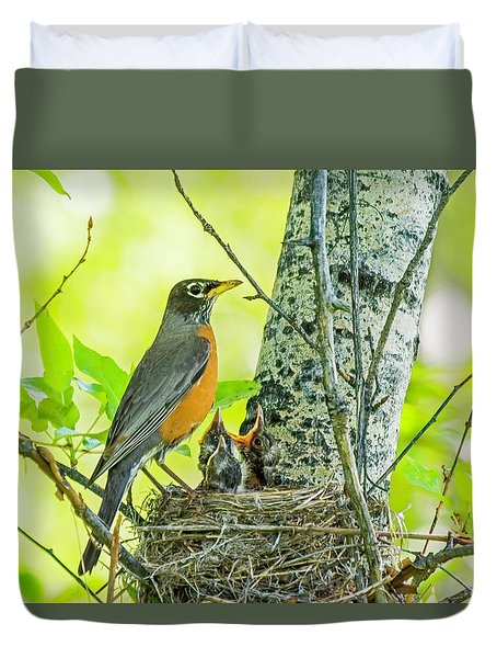 American Robin Feeding Chicks Duvet Cover