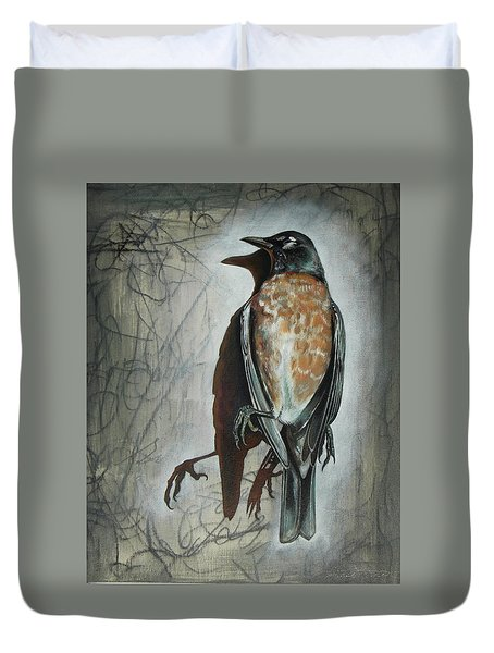 Duvet Cover featuring the mixed media American Robin by Sheri Howe