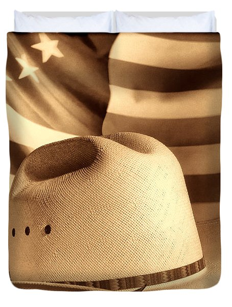 American Rodeo Cowboy Hat Duvet Cover