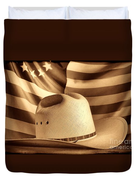American Rodeo Cowboy Hat Duvet Cover by American West Legend By Olivier Le Queinec