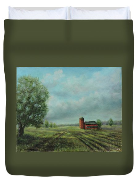Duvet Cover featuring the painting American Scene Red Barn  by Katalin Luczay