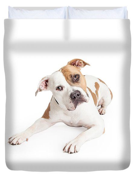 American Staffordshire Dog Laying Tilting Head Duvet Cover