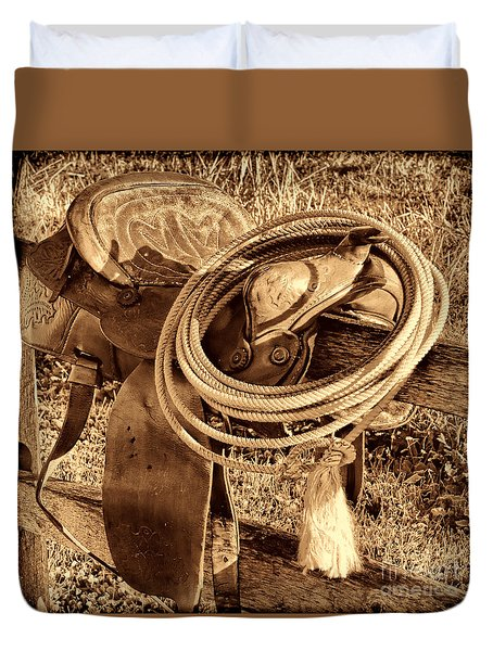American West Legend Rodeo Western Lasso On Saddle Duvet Cover by American West Legend By Olivier Le Queinec
