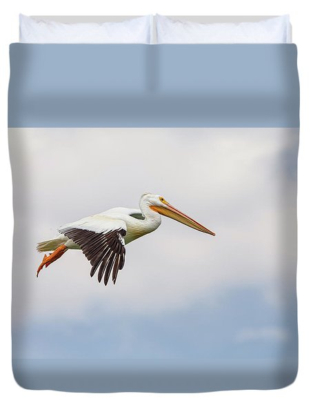 Duvet Cover featuring the photograph American White Pelican Cruising by James BO Insogna