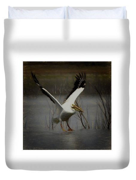 American White Pelican Da Square Duvet Cover by Ernie Echols