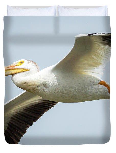 American White Pelican Flyby  Duvet Cover