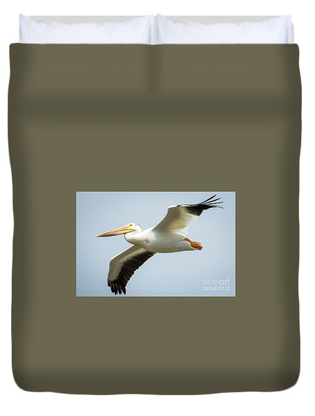 Duvet Cover featuring the photograph  American White Pelican Flyby  by Ricky L Jones