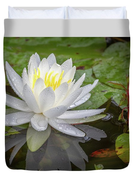American White Water Lily Duvet Cover