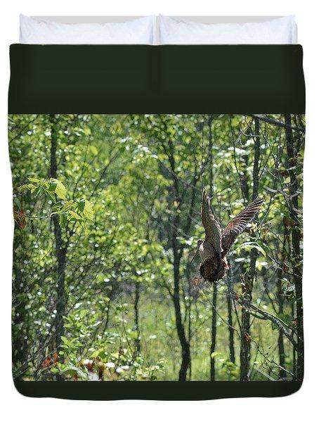 American Woodcock's Flight When She Has Chicks Duvet Cover