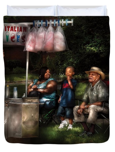 Americana - People - Buying Treats Duvet Cover by Mike Savad