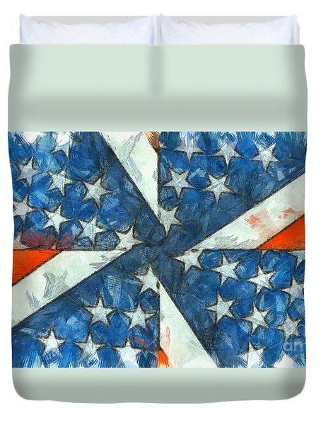 Duvet Cover featuring the digital art Americana Abstract by Edward Fielding